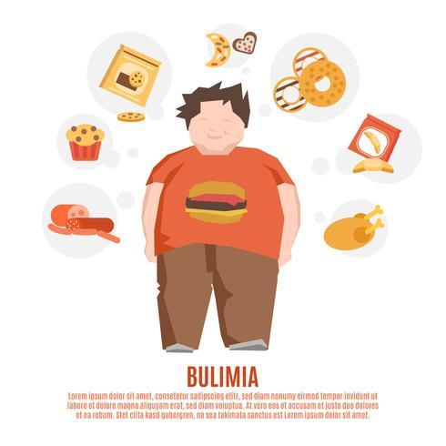 bulimi koncept platt vektor