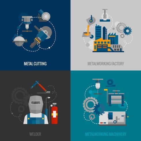 Metallbearbetningsfabrik 4 platta ikoner vektor