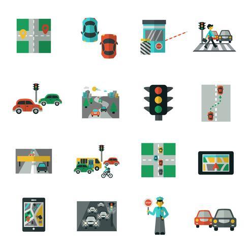 Trafik ikoner platt uppsättning vektor