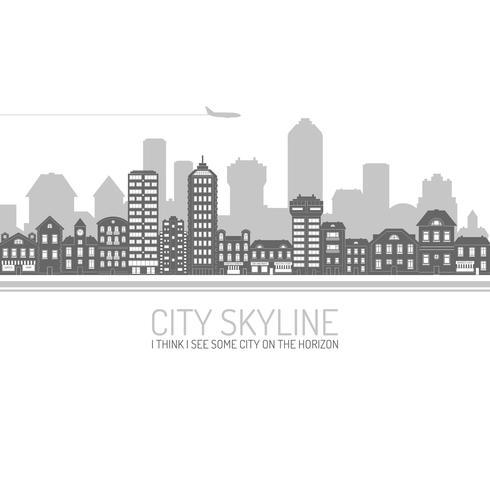 staden skyline svart vektor