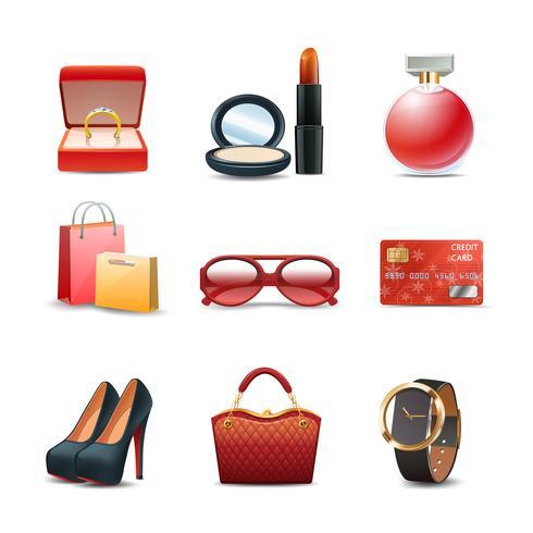 Frauen einkaufen icon set vektor