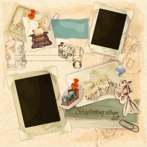 Retro-Scrapbooking-Set vektor