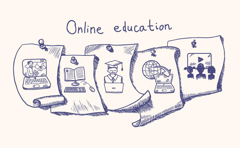 Onlineausbildungsaufkleber eingestellt vektor
