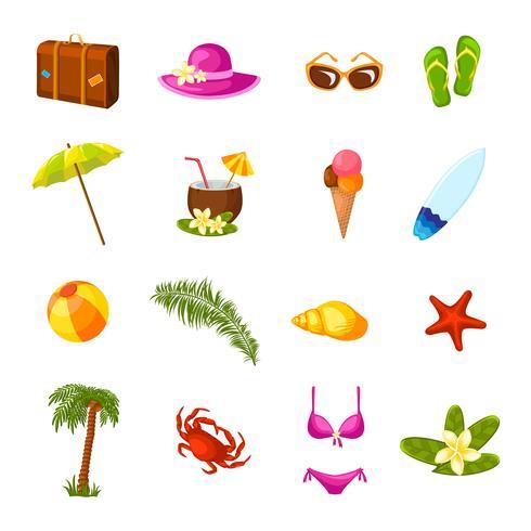 Strand mångfärgade ikoner uppsättning vektor