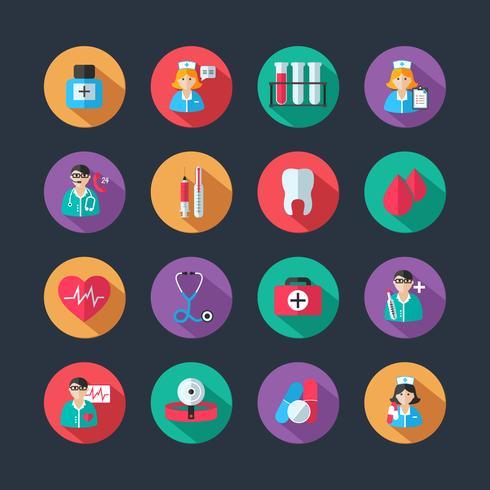 Medicinska ikoner och doktor avatars uppsättning vektor