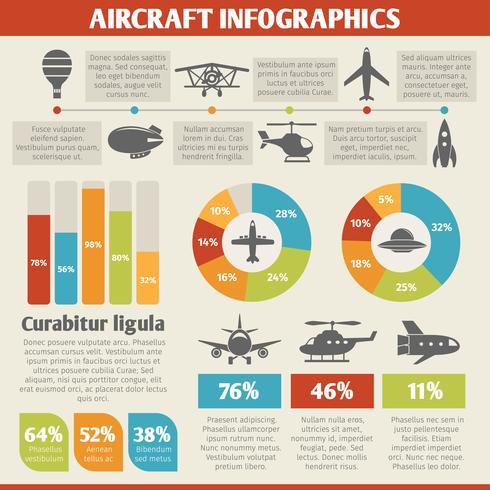 Flygplansikoner infografiska vektor