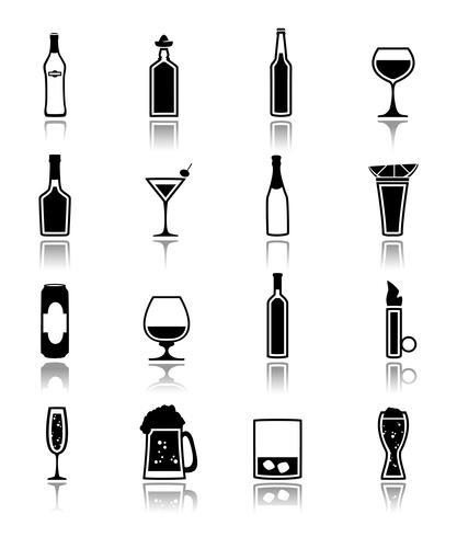 Alkohol ikoner svart vektor