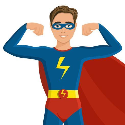 Junge im Superheldkostüm vektor