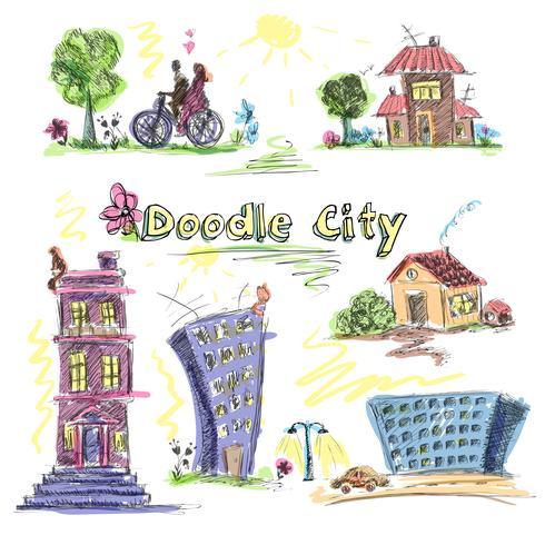 City doodle set färgad vektor