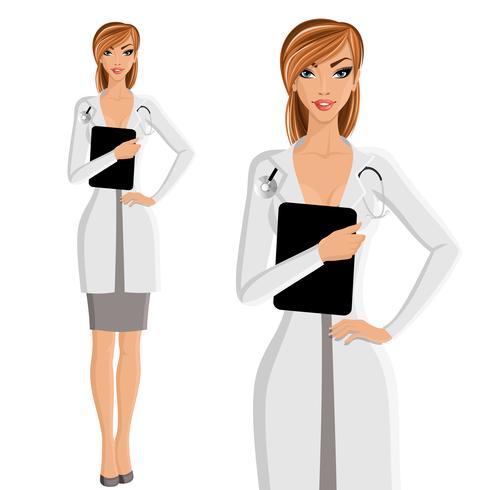 Kvinna doktor porträtt vektor