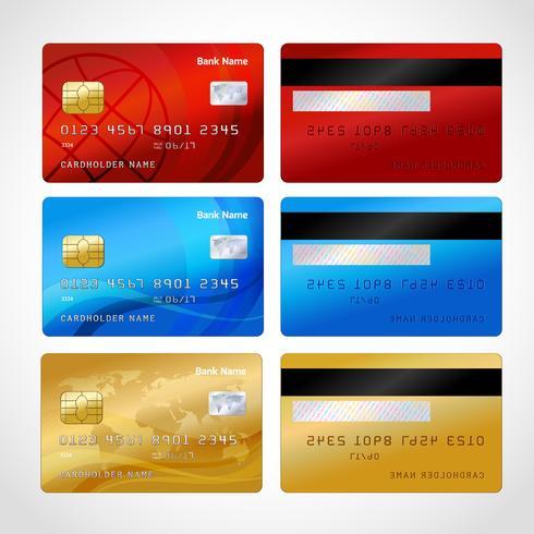 Realistiska kreditkort inställda vektor