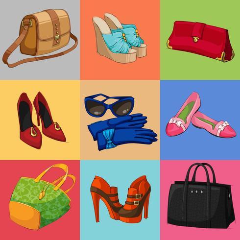 Damen Taschen Schuhe und Accessoires Kollektion vektor