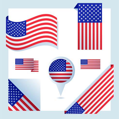amerikanska flagguppsättningen vektor