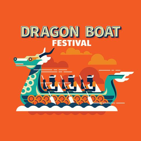 Konkurrenskraftig båtrace i den traditionella Dragon Boat Festival vektor