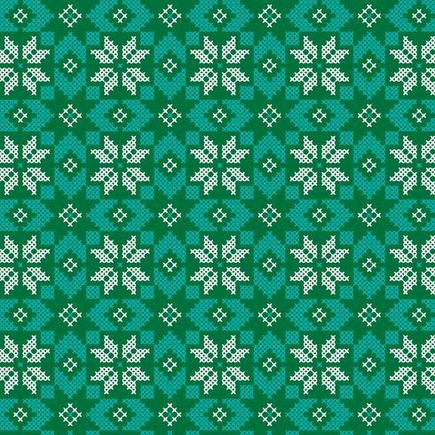 broderat nordiskt grönt och turkosmönster vektor
