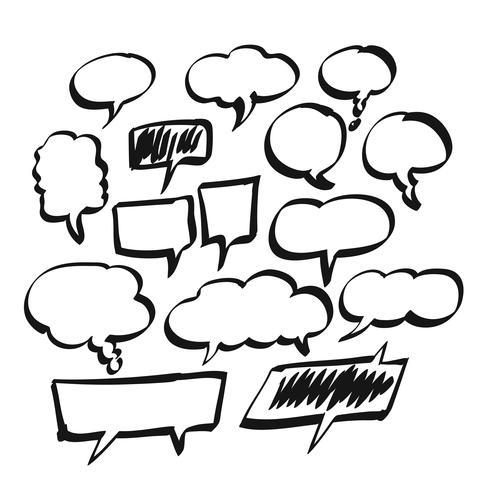 Hand gezeichnete leere Blasen-Rede, komische Rede oder Karikatursprachensatz vektor