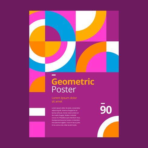 Geometrisk affischdesign lilor vektor