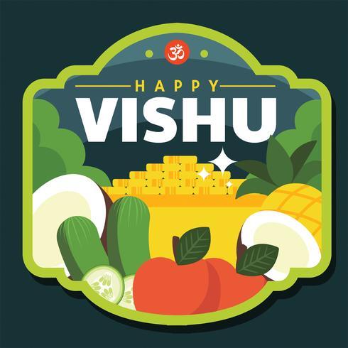 Glad Vishu emblem Vector Design