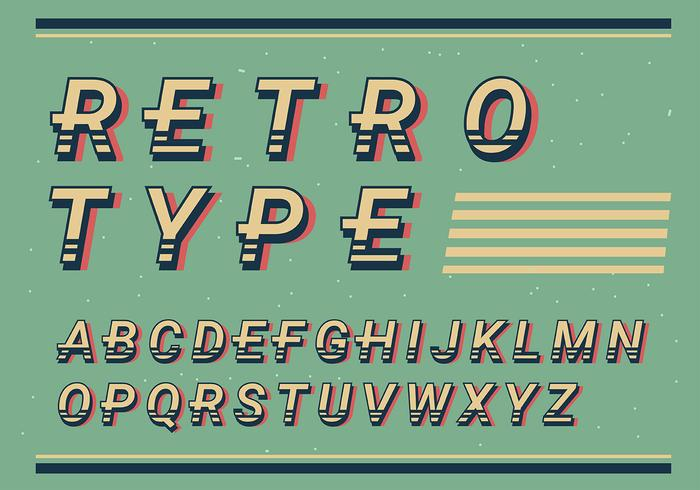 Retro alfabetet vektor