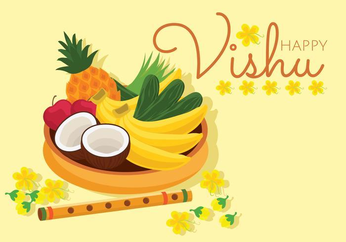 Glad Vishu Vector Card