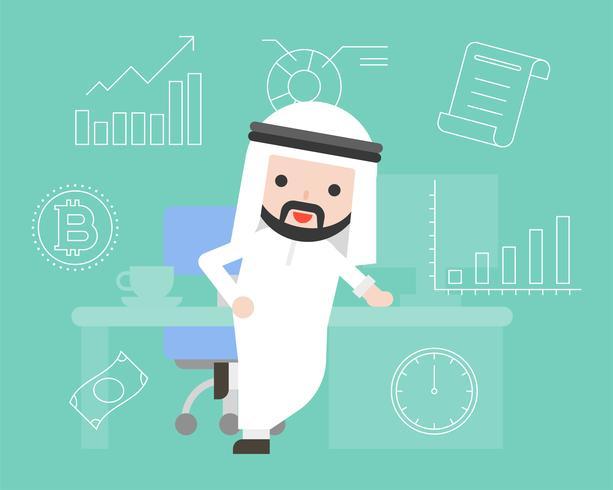 Arabischer intelligenter Geschäftsmann mit Schreibtisch- und Geschäftssymbolikone, flaches Design vektor