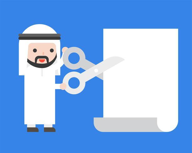 Arabischer Geschäftsmann, der Scheren hält, um leere Schablone des Papiers zu schneiden vektor