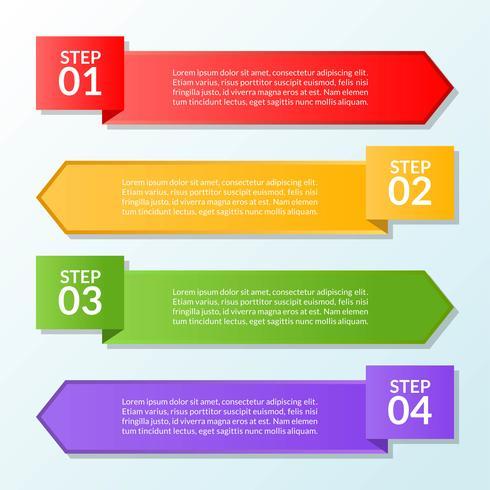 Infografisk mall för flagga fyra steg eller arbetsflödesdiagram vektor