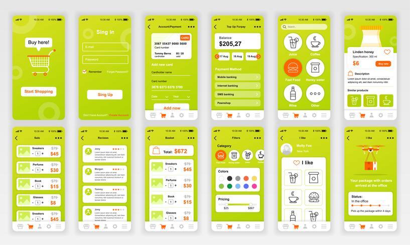 Set von UI-, UX- und GUI-Bildschirmen Flache Designvorlage für die App für mobile Apps, responsive Website-Drahtmodell. UI-Kit für Webdesign. Dashboard kaufen. vektor