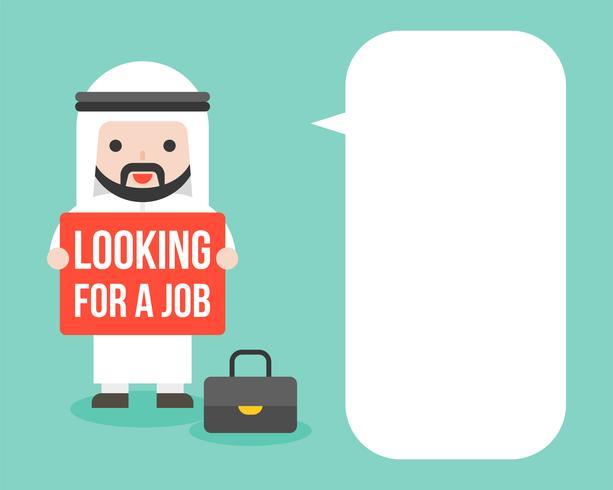 Arab Affärsman håller på att leta efter en arbetsskylt med blank talbubbla vektor