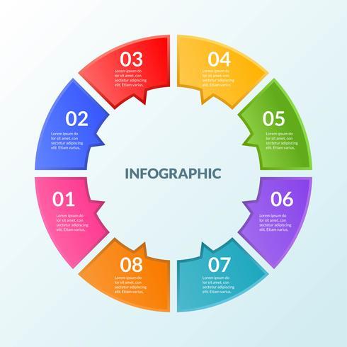 Infografik-Vorlage eines Schritt- oder Arbeitsablaufdiagramms 8 Schritte vektor