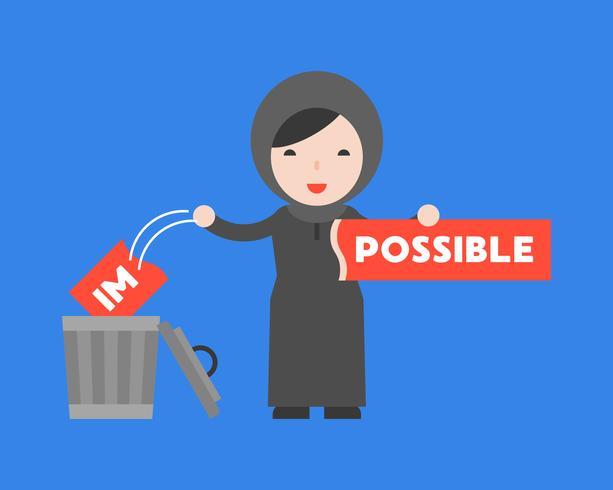 Arabische Frau ändern das unmögliche Zeichen in möglich vektor