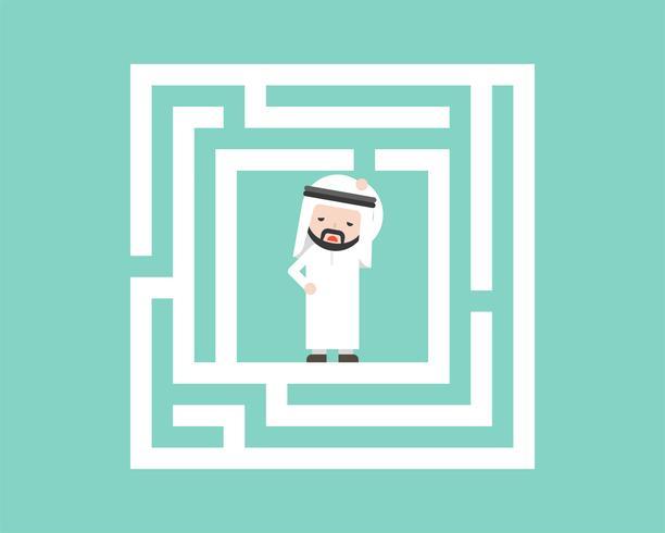 Förvirrad arabisk affärsman i labyrint, planlösningslösningskoncept vektor