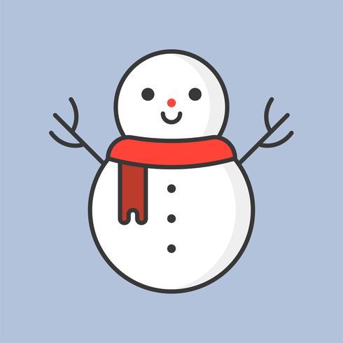 snögubbe, fylld konturikon för jultema vektor