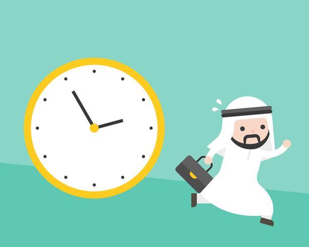 Der arabische Geschäftsmann, der von der großen Uhr läuft, folgt ihm vektor