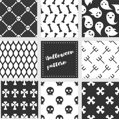 uppsättning halloween sömlösa mönster, platt design vektor