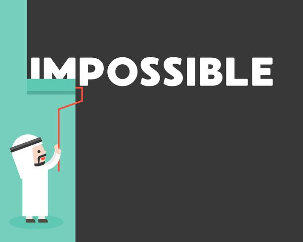 Arab affärsman målning vägg för att radera omöjligt ord vektor