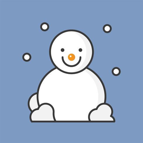 snögubbe och snöfall, fylld konturikon för jultema vektor