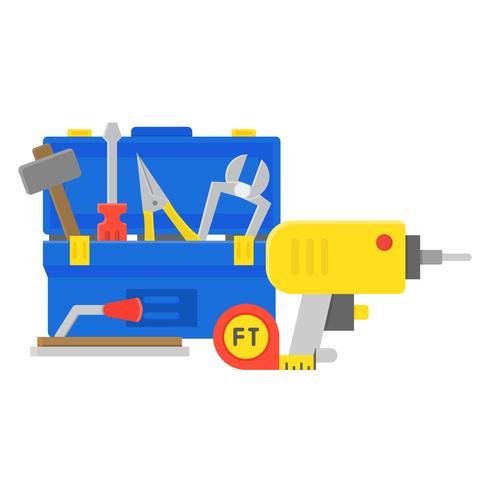Werkzeugkasten- und Ausrüstungssymbol, Wartungs- und Reparaturservicekonzept, flaches Design vektor
