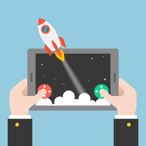 Raketenstart von Hand von Tablet oder Smartphone vektor