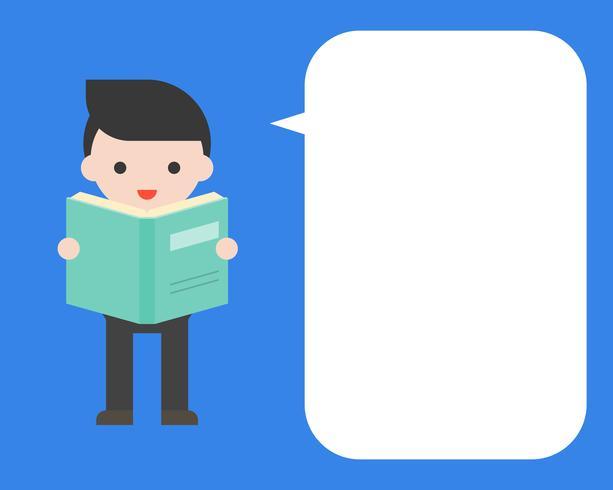 Netter Geschäftsmann, der ein Buch mit Spracheblase, flaches Design hält vektor