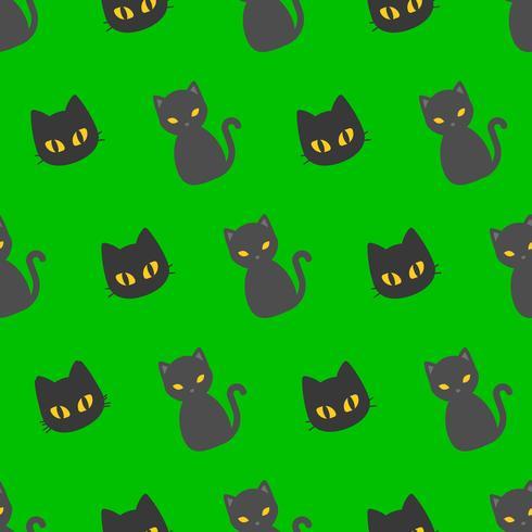 Svart katt Halloween sömlöst mönster, platt design med klippmask vektor