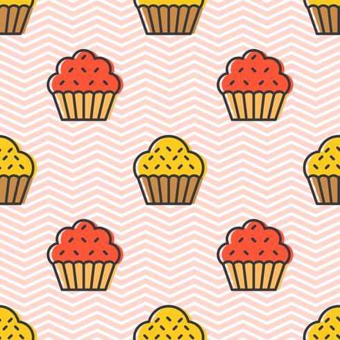 Färgglada söta muffinsmaskad mönster för papperspappersgåva vektor