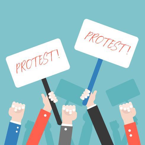 Många hand med protesttecken, protesterande koncept vektor