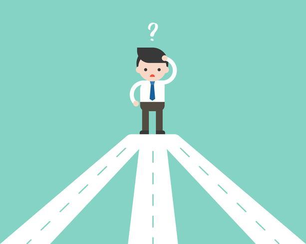 Geschäftsmann, der mit der Straßenkreuzung verwirrt, Entscheidungsgeschäftskonzept machend vektor