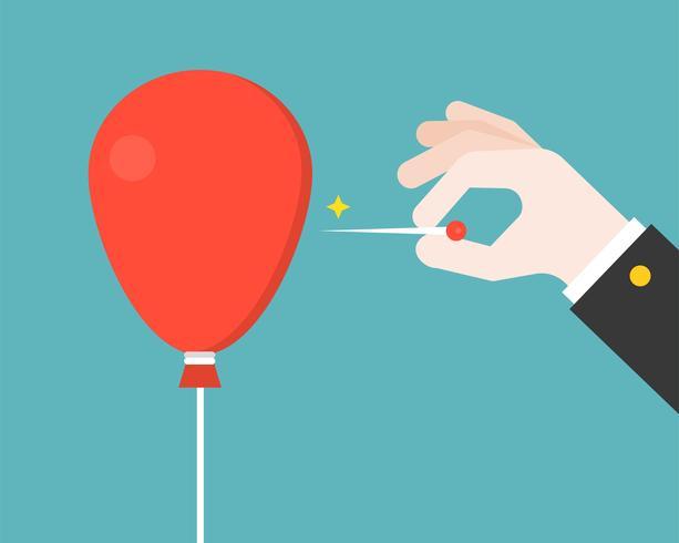 Business Hand with pin försök att spränga eller poppa röd ballong, platt design vektor