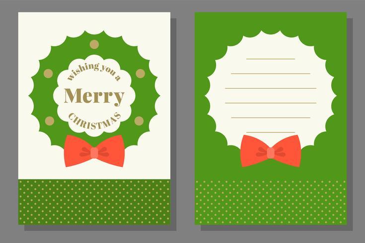 Weihnachtsgruß oder Einladungskartenschablone, flaches Design vektor