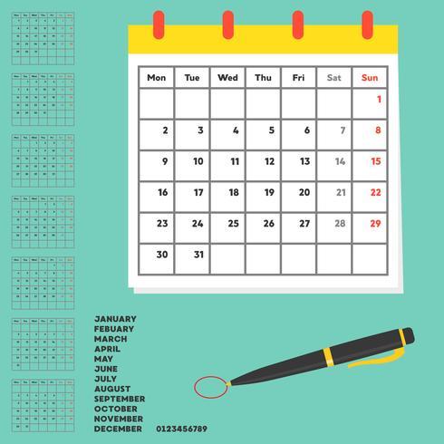 material och mall för kalender, årplanerare och arrangör, platt design vektor