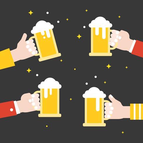 Business hand som håller ölburk firande, platt design vektor