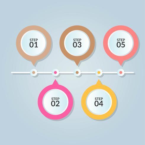 Infografisk mall med fem steg eller arbetsflödesdiagram vektor