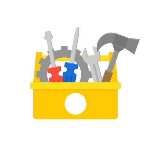 verktygslåda och utrustning ikon, underhåll och reparation service koncept, platt design vektor